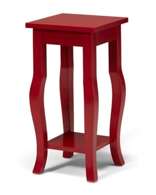 Kate And Laurel Lillian Pedestal End Table In Red