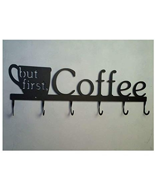 Cup/Mug Rack with hooks for Cups and Mugs, But First, Coffee