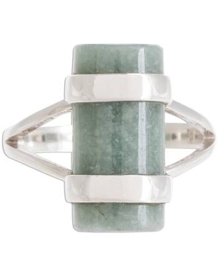 Cylindrical Apple Green Jade Cocktail Ring from Guatemala