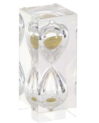 """Deco 79 53432 Resin and Glass 15 Minute Sand Timer, 6"""" x 2"""", Clear/Gold"""