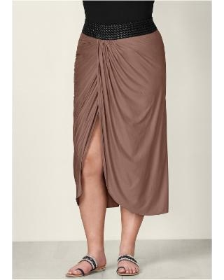 """Plus Size Faux Leather Waistband Detail Maxi Skirt - Brown"""