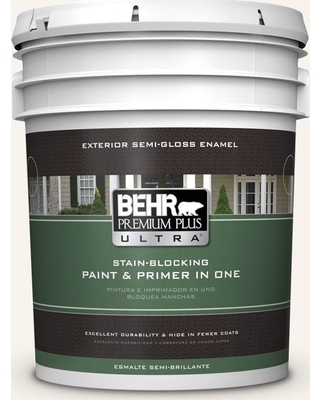 BEHR ULTRA 5 gal. #W-D-700 Powdered Snow Semi-Gloss Enamel Exterior Paint and Primer in One