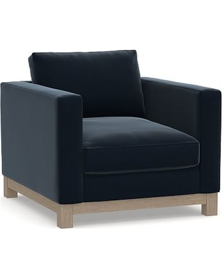 Jake Upholstered Armchair with Wood Legs, Polyester Wrapped Cushions, Performance Plush Velvet Navy