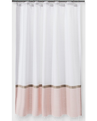 82c8ebb33e New Deals on Colorblock Woven Shower Curtain Light Gold - Project 62