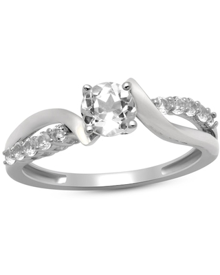 Jared The Galleria Of Jewelry Lab-Created White Sapphire Ring Sterling Silver
