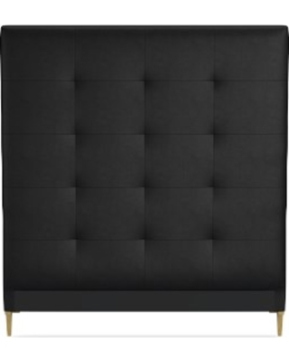 Brooklyn Tall Headboard Only, King, Tuscan Leather, Black, Antique Brass