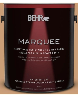 BEHR MARQUEE 1 gal. #ICC-62 Pumpkin Butter Flat Exterior Paint and Primer in One
