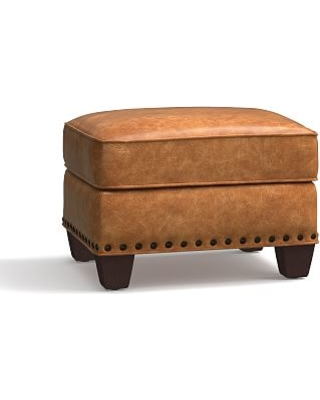 Irving Leather Storage Ottoman, Bronze Nailheads, Polyester Wrapped Cushions, Leather Statesville Caramel