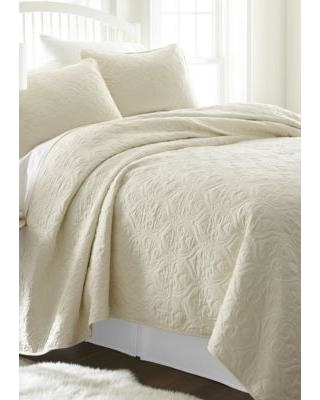 Luxury Inn Ivory Premium Ultra Soft Damask Pattern Quilted Coverlet Set