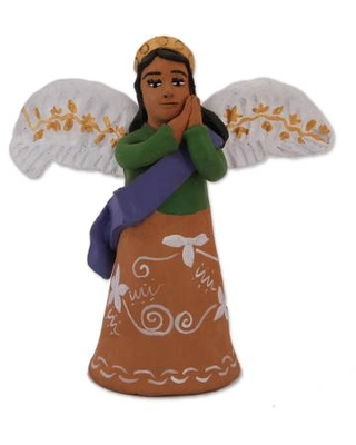 Hand-Painted Ceramic Angel Sculpture from Mexico