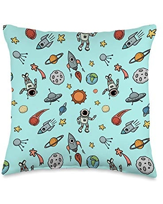 Vine Mercantile Cool Outer Space Pattern - Astronauts, Spaceships, Planets Throw Pillow, 16x16, Multicolor