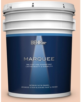 BEHR MARQUEE 5 gal. #M210-3 Apricot Freeze Satin Enamel Interior Paint and Primer in One