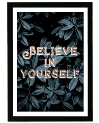 """Wynwood Studio Typography and Quotes Framed Wall Art Prints 'Believe in Yourself Plants' Inspirational quotes - Green, Gold, 13"""" x 19"""""""