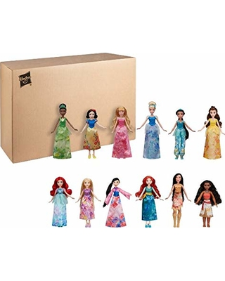 Disney Princess Royal Collection, 12 Fashion Dolls -- Ariel, Aurora, Belle, Cinderella, Jasmine, Merida, Moana, Mulan, Pocahontas, Rapunzel, Snow White, Tiana, Toy for 3 Year Olds & Up