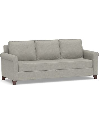 Cameron Roll Arm Upholstered Pull-Up Platform Sleeper Sofa, Polyester Wrapped Cushions, Premium Performance Basketweave Light Gray