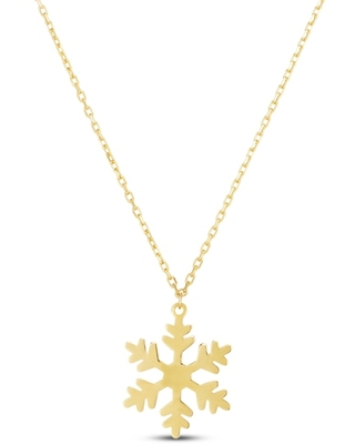 Jared The Galleria Of Jewelry Snowflake Pendant Necklace 14K Yellow Gold