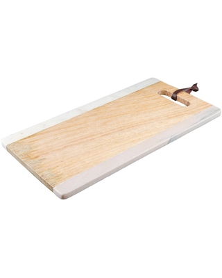 """14.5"""" x 8"""" Marble and Mango Wood Serving Tray with Handle - Thirstystone"""