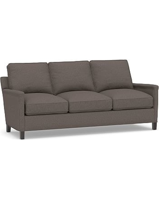 Tyler Square Arm Upholstered Sofa without Nailheads, Down Blend Wrapped Cushions, Performance Brushed Basketweave Charcoal