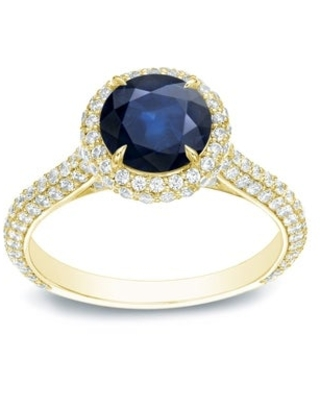 Auriya 3/4ct Blue Sapphire and Pave Halo Diamond Engagement Ring 1 1/4ctw 14k Gold (Yellow - 6)