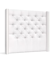 Harper Upholstered Tufted Tall Headboard, Queen, Twill White