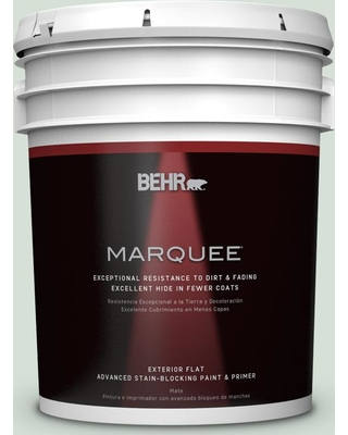 BEHR MARQUEE 5 gal. #S410-1 River Mist Flat Exterior Paint and Primer in One