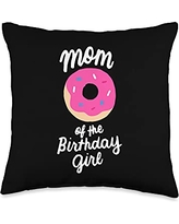 Matching Family Birthday Donut Gifts Store Mom Girl Matching Family Donut Birthday Throw Pillow, 16x16, Multicolor