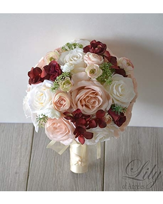 Wedding Bouquet, Bridal Bouquet, Bridesmaid Bouquet, Silk Flower Bouquet, Wedding Flower, Burgundy Sangria Wine Peach Pink Blush Greenery, Lily of Angeles
