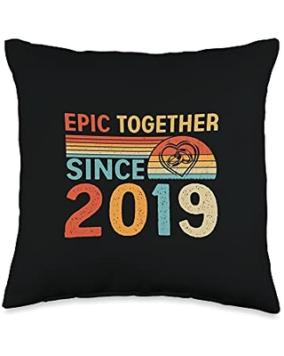 Couple 2nd Anniversary Gifts Co. Epic Together Since 2019 Funny Couple 2nd Anniversary Throw Pillow, 16x16, Multicolor