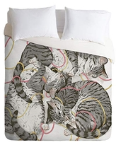 Society6 Laura Graves Cats Trio Duvet Set with Pillowcase(s), Queen/Full, Gray
