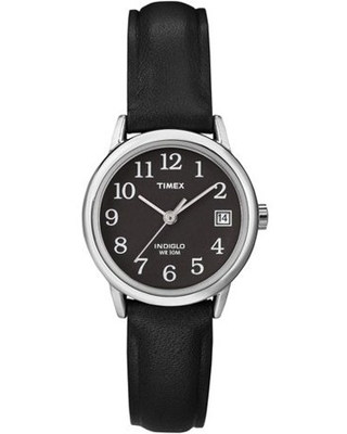 Timex Women's Easy Reader Date 25mm Black/Silver/Black Leather Strap Watch
