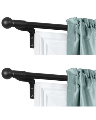 Smart Rods No Measuring Easy Install Adjustable Café Window Rod, 18 to 48 in., with Ball Finials, Black, 2-Pack of Rods