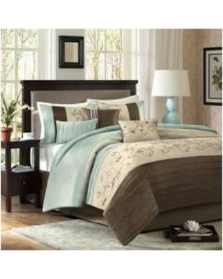 Madison Park Serene Cal King Embroidered 7 Piece Comforter Set in Blue - Olliix MP10-338