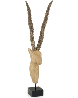 HomeRoots Rosemary Irregular Wood Wood - Sable on Stand Sculpture, Natural/Black