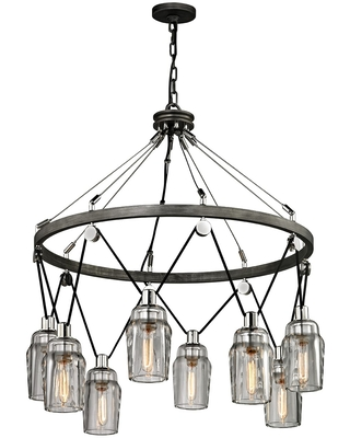 Troy Citizen 8-Light Chandelier in Graphite and Polished Nickel