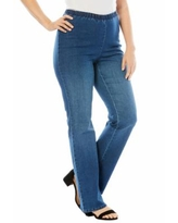 Roaman's Women's Bootcut Pull-On Stretch Jean by Denim 24/7 In Medium Stonewash Sanded (Size 22 WP)