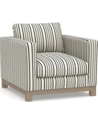 Jake Upholstered Armchair with Wood Legs, Polyester Wrapped Cushions, Antique Stripe Blue
