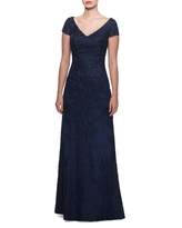 La Femme Embellished Lace Gown, Size 10 in Navy at Nordstrom