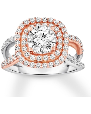 Jared Diamond Engagement Ring 1-5/8 ct tw Round-cut 14K Two-Tone Gold
