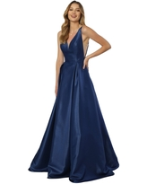 Nox Anabel - E156 Sleeveless Illusion Panel V Neck A-Line Gown