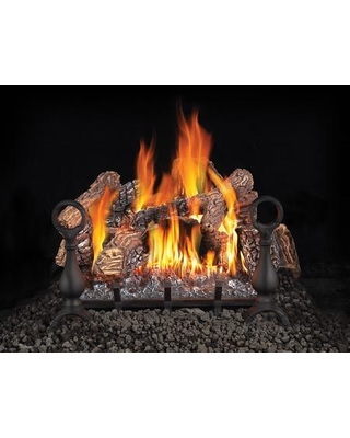 """Fiberglow Series GL18NE 18"""" Vented Natural Gas Log Set with Electronic Ignition Up to 55 000 BTU's PHAZER Log Set Cast Iron Grate and Back-up"""