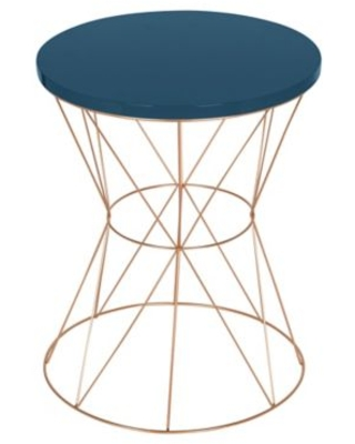 Kate and Laurel Mendel Round End Table in Rose Gold/Blue