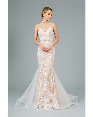 GLS by Gloria - GL2934 Embroidered V-Neck Mermaid Gown
