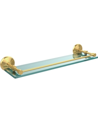 Allied Brass Monte Carlo 22 in. L x 3 in. H x 5 in. W Clear Glass Bathroom Shelf with Gallery Rail in Polished Brass