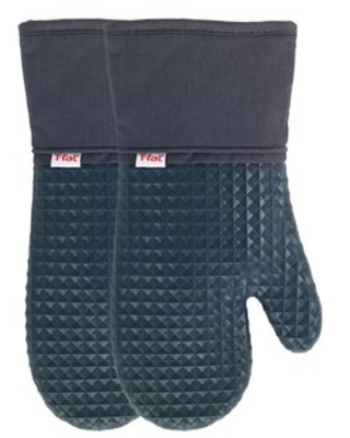 T-fal Textiles 2 Pack Soft Flex Waffle Silicone Oven Mitt Set (Charcoal)