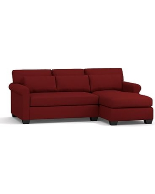 York Roll Arm Upholstered Deep Seat Left Arm Sofa with Chaise Sectional, Bench Cushion, Down Blend Wrapped Cushions, Twill Sierra Red