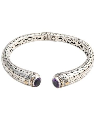 Hand Crafted Amethyst and Silver Cuff Bracelet