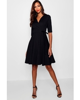 Womens Tall Wrap And Skater Dress - Black - 4