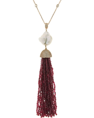 Cosanuova - Red Jade Baroque Tassel Necklace in Yellow Gold