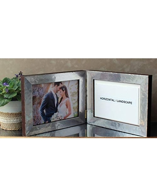 Custom Metal on Wood Series Double Folding Hinged Picture Photo Frame
