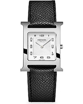 HERMÈS Heure H Stainless Steel & Leather Strap Watch - Black
